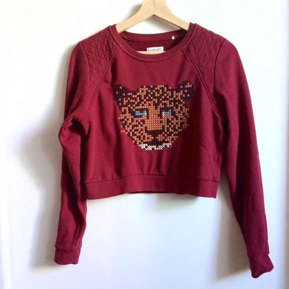 Crop Cross Stitch Pullover Sweater This listing includes a red crop sweater with a cute cross stitch pattern of a a leopard and quilting at the shoulders. It has slight pilling and has a couple of loose threads on the stitching. The fabric is also pulled a bit in a small section near the top. The stitching pattern is so beautiful; I'm only selling because it is too short for me. PacSun Sweaters Crew & Scoop Necks