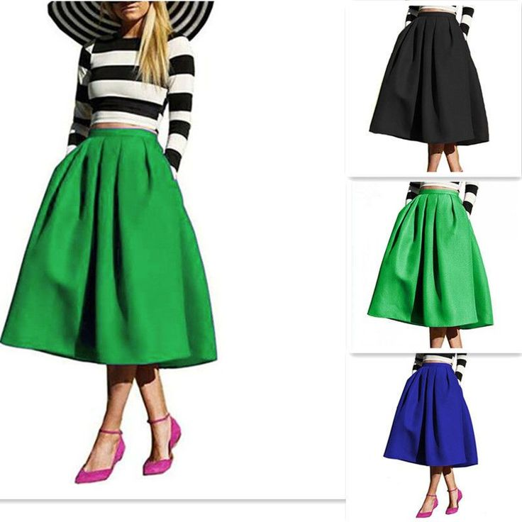 Retro Summer Plain Midi Knee Length High Waist Pleated Bubble Flared Skirt Dress