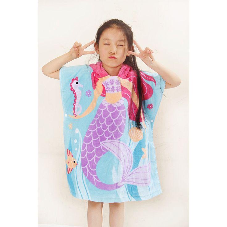 On sale Microfiber Fabric Beach Towel 61*62cm Cartoon Kids Beach Towel Colors Baby Hooded Poncho Character kids bath robe towel