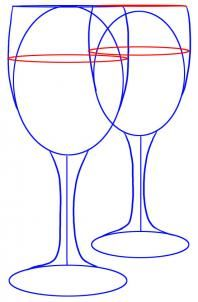 how to draw wine glasses step 3
