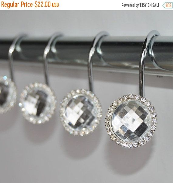 ON SALE Shower Curtain Hooks Rings - Clear Cute Decorative Crystal Gems Bling Rhinestones Bathroom Bath Set Women Girl Gift Home Decor; jewel diameter 1.2''; hook length 2''; 12 hooks, fits standard 1'' rod; $19.99; etsy