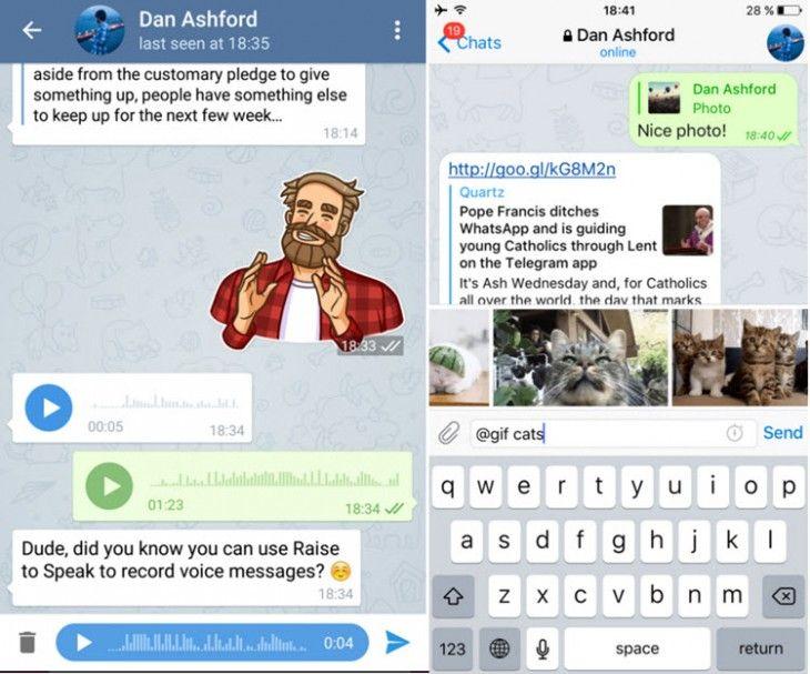 Sabías que Telegram agrega nuevas opciones para mensajes de voz, chats secretos y editor de fotos