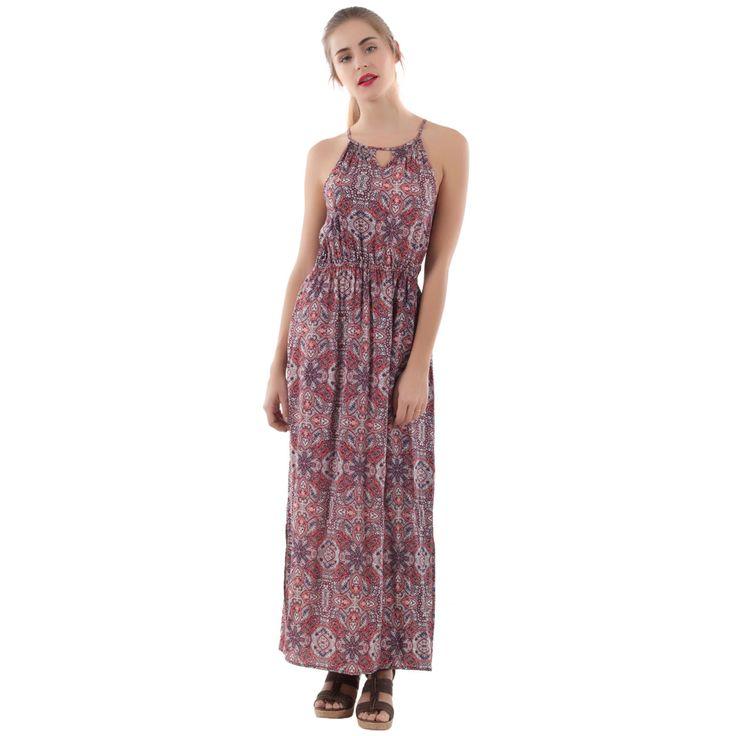 Robe longue imprimée rouge fc - MIM #robe #long #longue