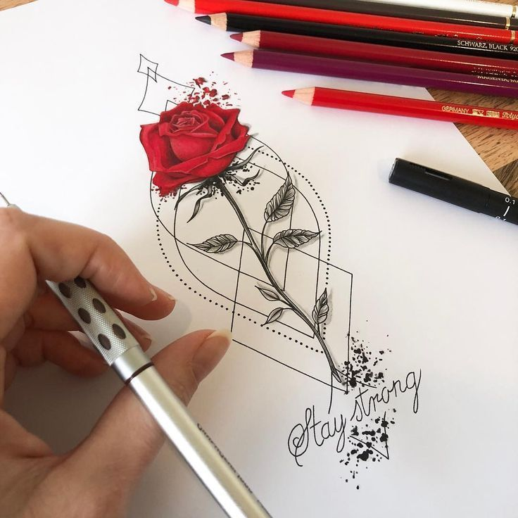 Stay Strong Rose Tattoo Design #tattoos #flowertattoos #flowertattoos