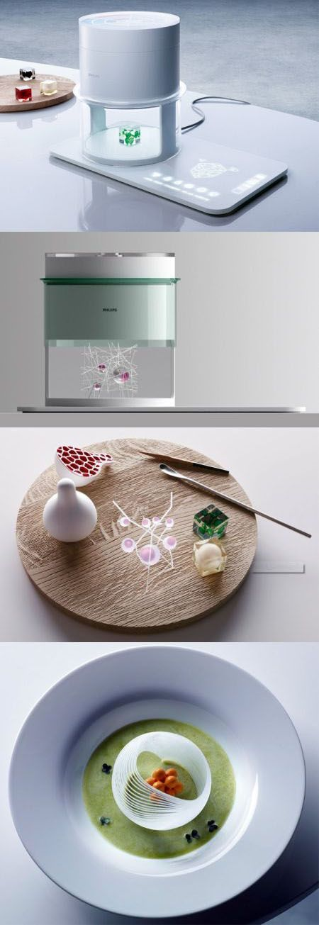 "Food Future: Phillips Electronics are trying to develop the ""food printer"", combining molecular gastronomy & 3D printing technology, which will make it possible for you to design, flavor, color & shape your food as you wish!"