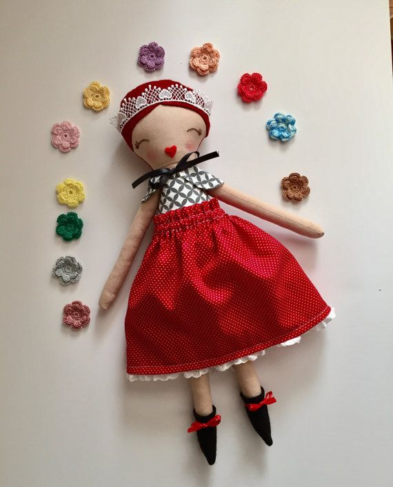Cloth doll, red hair doll, princess doll, red skirt, handmade, handembroidered, birthday gift, gift, holiday gift, dolls clothing, girls