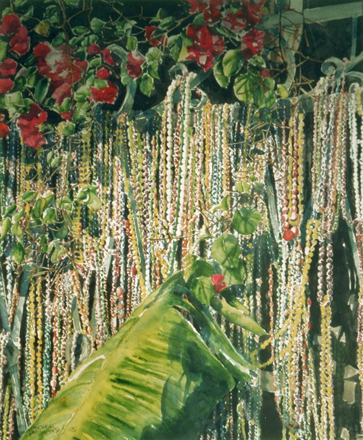 "mardi gras beads balcony nawlins 26"" x 20""  micheal zarowsky - watercolour on arches paper available 1500.00 (unfr)"