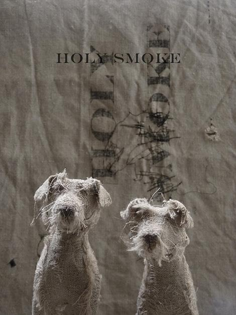 UK-based artist Helen Thompson aka Holy Smoke creates these expressive canines from wire, natural linen, and vintage textiles.