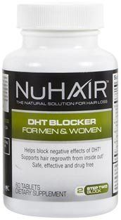 Nu Hair NuHair DHT Blocker Tabs, 60 ct (Quantity of 1) by Nu Hair. $14.99. NuHair anti dht hair vitamins help stop thinning hair in Men and Women. NuHair is a drug free natural hair supplement to suuport healthy hair growth and help stop hair loss from the inside out.