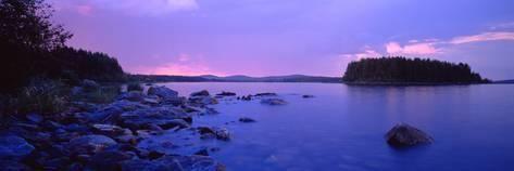 Photographic Print: Rocks in a Lake, Lake Pielinen…