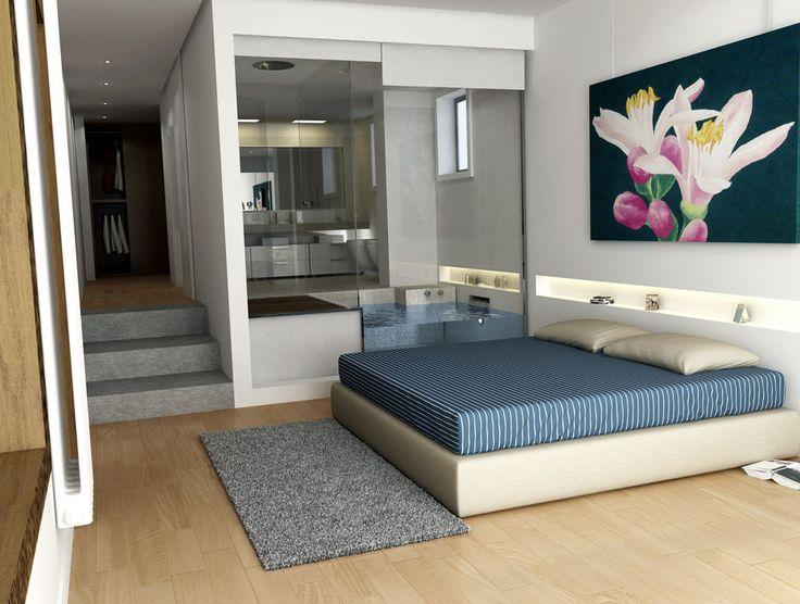 Master Bedroom with bathroom, rendering 3d