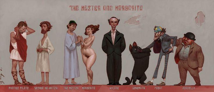 Master and Margarita cast illustration. Lots of charm.