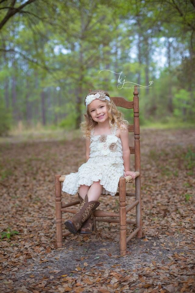 Lace Baby Dress Burlap Wedding Ivory Lace by PoshPeanutKids