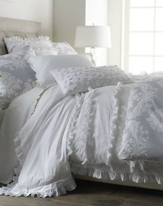 Go feminine and flouncy in your bedroom with the Serena & Lily White Ruffled Bed Linens (on sale for $125 and up).