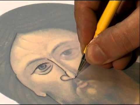 9a Peindre une icône, Le report du dessin sur la planche - YouTube