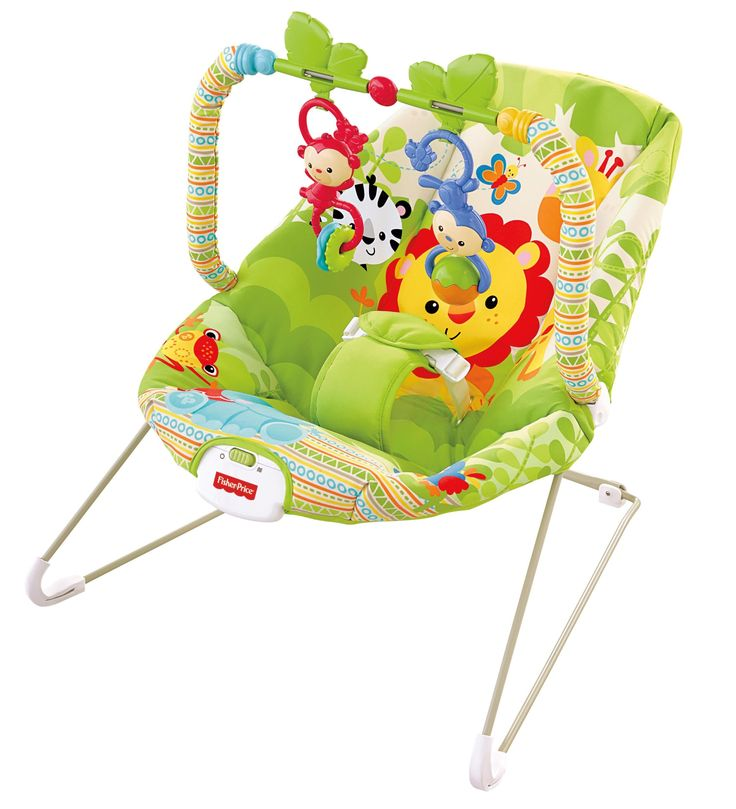 "Fisher-Price Baby Bouncer, Rainforest Friends - We stick these chairs all over the house for a safe place to put the baby down. We have one in the kitchen, one in the bathroom, one in the laundry room. I use them with the Boppy ""noggin nest."""