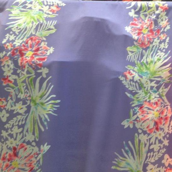 Garden Party Border Print Silk Crepe de Chine - Multi on Violet - Gorgeous FabricsGorgeous Fabrics