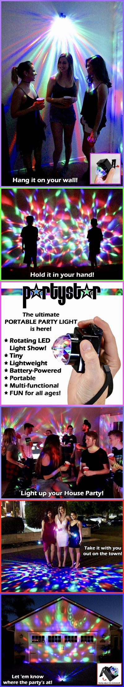 Tiny, lightweight & battery-powered PartyStar is the ultimate Portable Party Light with tons of uses!  House parties, holidays, birthdays, wedding receptions, bachelorette parties, school dances, camping, nights out on the town... the list goes on and on!  Get 1 for $19.99 or 2 for $24.99 with FREE SHIPPING!