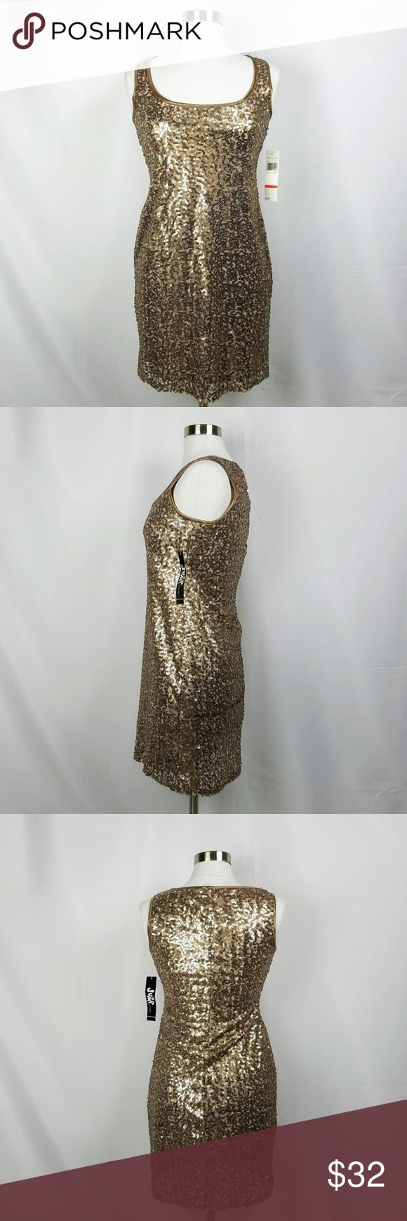 """Jump Girl Bronze Sequin Sleeveless Dress [NWT] Jump Girl Cut # 49777  100% polyester sleeveless dress covered in bronze- colored sequins Lined Size: 7/8 Pull-on styling  Flat measurements (approx) Bust: 16 3/4"""" Waist: 15"""" Hips: 18 1/2"""" Width at hem: 19"""" Length, nape to hem: 34 1/4""""  NEW WITH TAGS Jump Dresses Mini"""