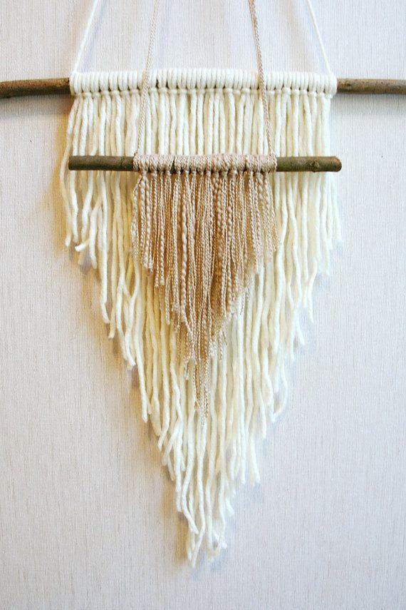 Yarn hanging woven wall weaving bohemian wall by Delekselja