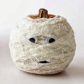 Mummy pumpkin - cute - AND no carving!!