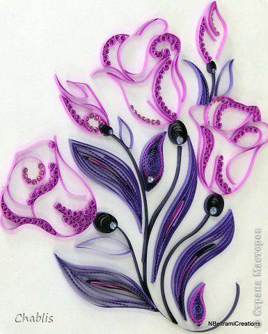 Картина панно рисунок Квиллинг Фиолетово- пурпурные мечты Бумага бархатная Бумажные полосы Бусинки фото 1