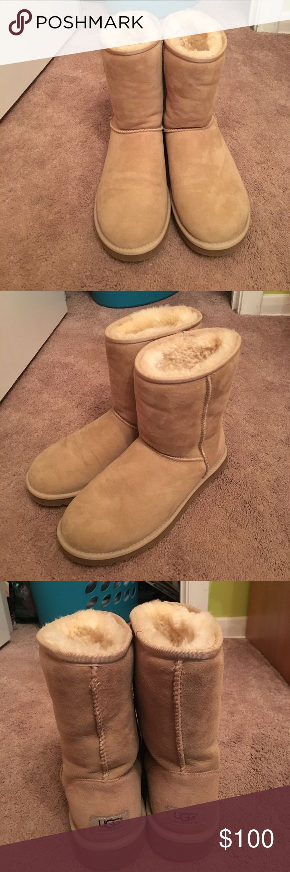Authentic Sand Classic Short Uggs Authentic uggs, never worn and in new condition. Does not come with box or original tags as I took them off thinking I'd keep. I'm moving soon and need to clear out my closet! Make an offer💕 UGG Shoes Winter & Rain Boots