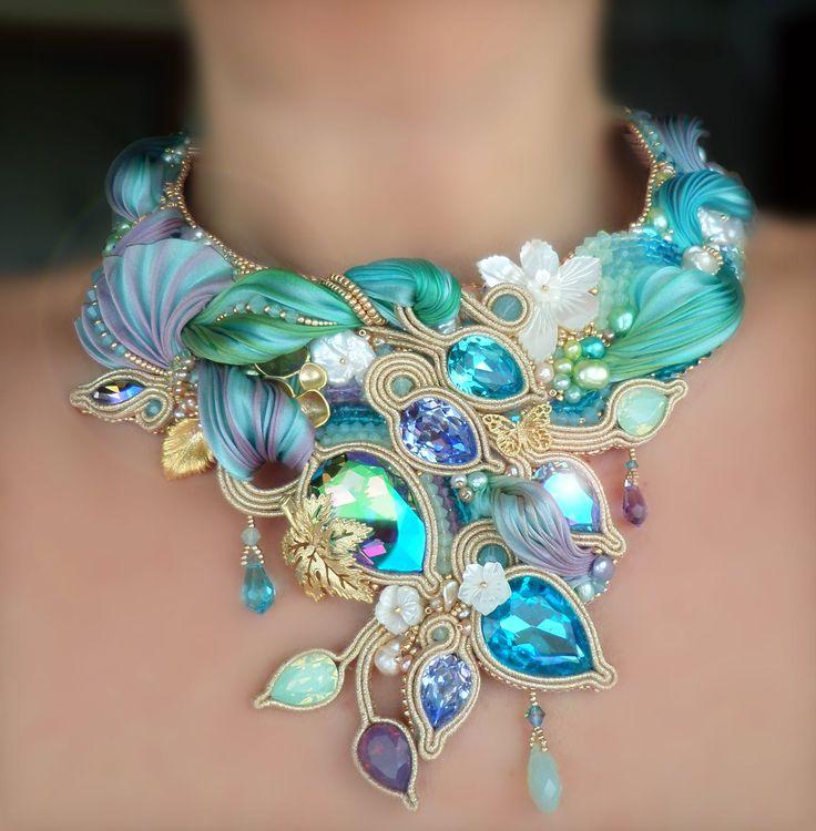 """""""SPRING GARDEN"""" Necklace --- Design by Serena Di Mercione --- beadembroidery, soutache, shibori silk, swarovski, pearls"""