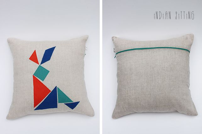 Indian Sitting Linen Cushion  by PINT SIZE GOODS (The Tangram Tribe Collection)