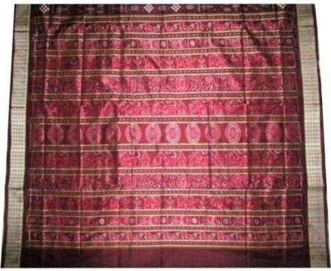 Exclusive Brown Sambalpuri Ikat Silk Saree with Blouse Piece: Amazon.in: Clothing & Accessories
