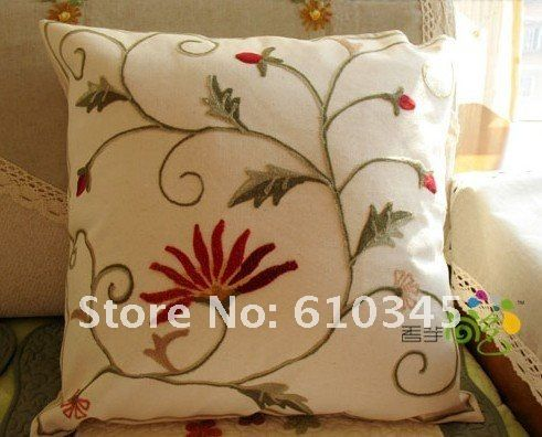 Wholesale Free shipping hand made Crewel embroidery Cushion Cover Cotton Linen Pillow Cover Printed Flower pillow sham A35-in Cushion Cover from Home & Garden on Aliexpress.com   Alibaba Group