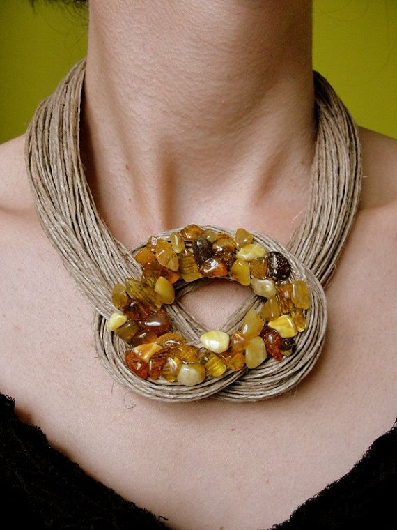 Organic necklace amber rosette unique mosaic by BUSTANI on Etsy
