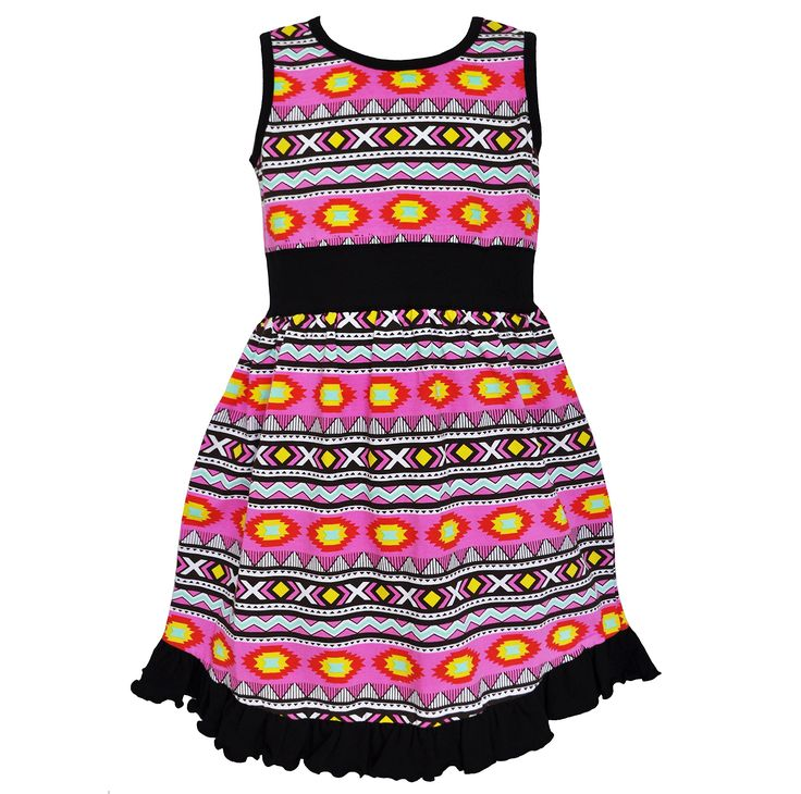 AnnLoren Little Girls Pink Black Tribal Print Ruffle Hem Maxi Dress 2T/3T. Original Tribal print with sharp, vibrant colors. Dress trimmed with lovely black ruffles. 100% cotton, machine washable. AnnLoren Little Girls 2/3T Boutique Vibrant Black & Pink Tribal Maxi Dress.