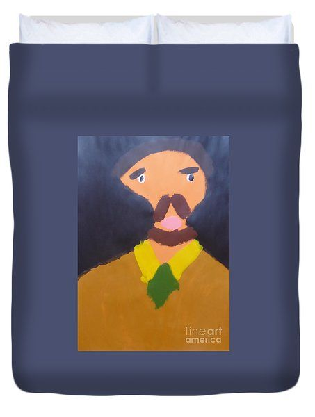 Patrick Francis Duvet Cover featuring the painting Portrait Of Eugene Boch 2015 - After Vincent Van Gogh by Patrick Francis