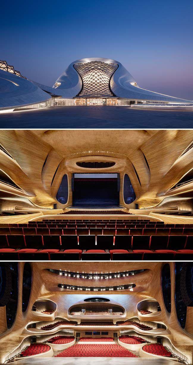 À l'allure futuriste à la fois épurée et sinueuse, l'Opéra d'Harbin rassemble en son sein deux salles de concerts, ainsi qu'une immense place publique donnant sur les marais alentours de la rivière Songhua // Cabinet MAD // Chine