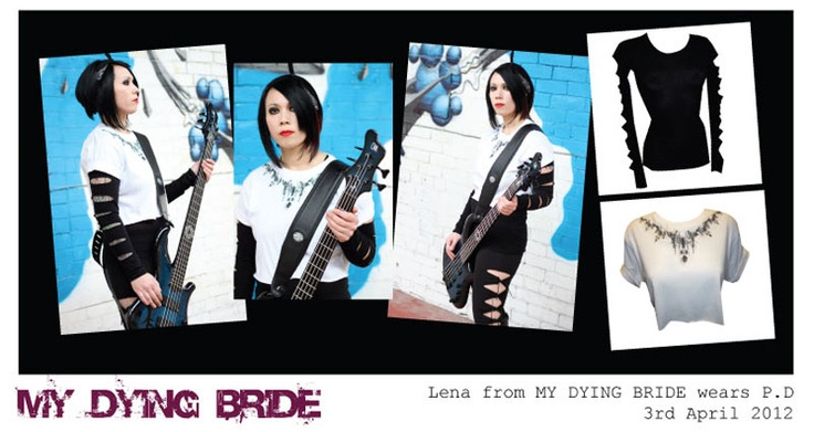 Pretty Disturbia | designer clothing for women | press and gallery MY DYING BRIDE ROCK BAND LENA DRUMMER WEARS PRETTY DISTURBIA