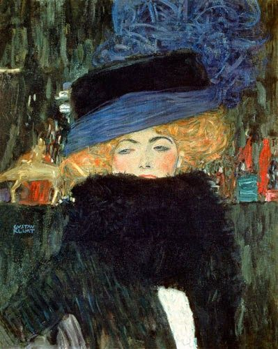 Gustav Klimt: 'Lady with Hat and Feather Boa', 1909