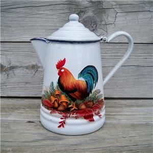 frenh+country+painted+coffee+pots   ... Coffee Pot HP Rooster Art Mushrooms Acorns French Country Hand Painted