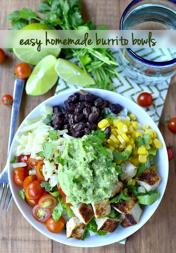 Easy Homemade Burrito Bowls are a simplified, homemade version of Chipotle's Burrito Bowls. Fresh and...