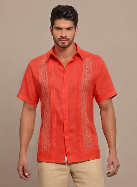 Bright Color Guayabera Shirt. SHORT Sleeve. High quality Linen.