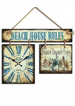 "DCSE - Decorative clock sign ""Beach house"", made of wood. Vintage summer decoration."