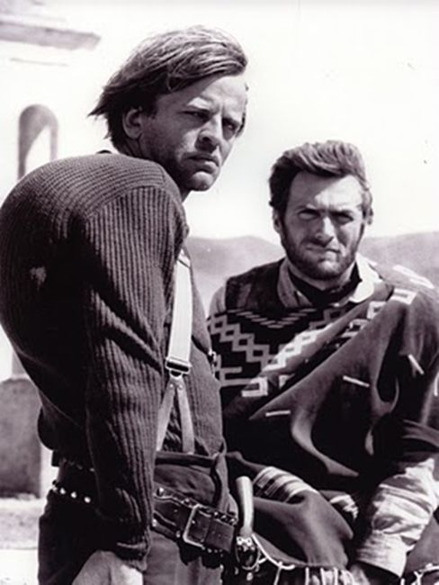 "[CAST] Klaus Kinski (18 October 1926 – 23 November 1991) and Clint Eastwood in ""Few Dollers More"", 1965"