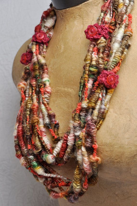 This one-of-a-kind lofty wearable/yarn  handspun by  Wendy,  then plied with complementary bright red yarn to create fun spongy super coils. mix of 50% merino + 50% silk that was hand dyed.  Wear it as a neck decoration. Or cut the cuffs to knit / crochet into something spectacular! 12 yards / 11 meters. 1.5 ounces / 42 grams. 3-5 wpi / thick+thin .