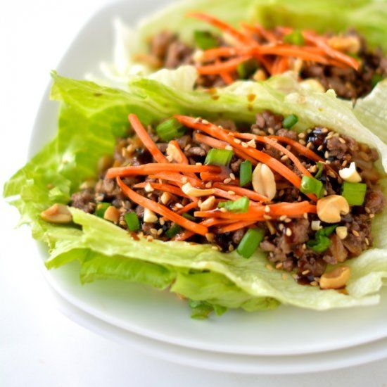 Healthy Asian Lettuce Wraps- One of my all-time favorite dinners! Delicious, fast, and HEALTHY! 120 calories each/low carbs!