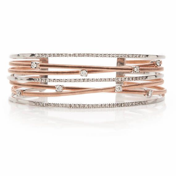 Diamonds 18k Solid Gold White and Rose Gold Bangle Bracelet with 1.53ct Diamonds, Knitted Wire Designed, Danelian Jewelry, Solid Gold Bangle, Multi band, micropave bracelet, high end jewelry, design. AVAILABLE IN ALL SIZES in our goldsmith workshop!