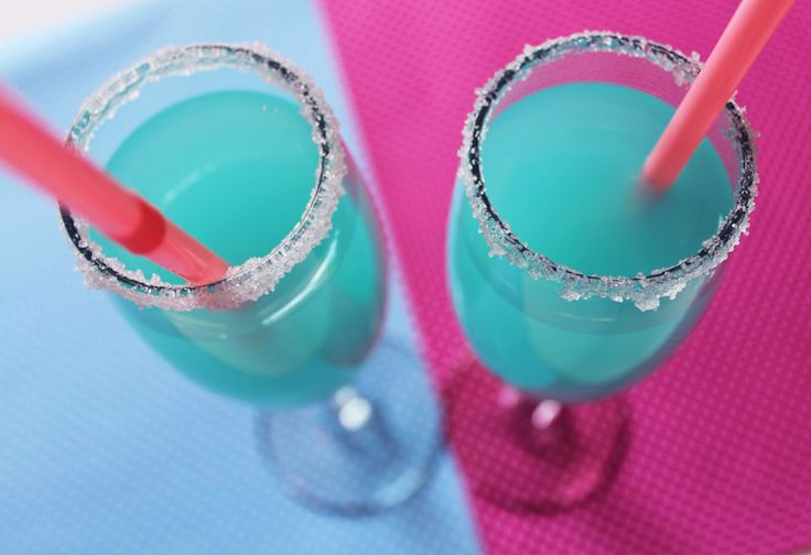 Turquoise Lemonade: Blue Raspberry Hawaiian Punch added to your favorite fresh lemonade. use lemons to wet the rim of the glass and dip in sugar. Voila!