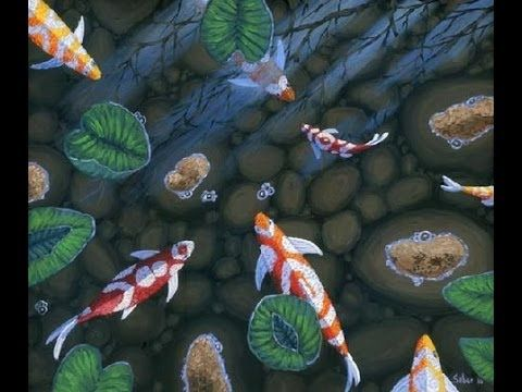 How to paint fish in pond koi with acrylic on canvas for Koi pool paint