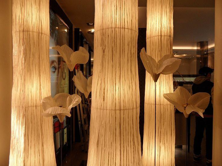 Window display used handmade Japanese paper at Guerlain shop in Paris