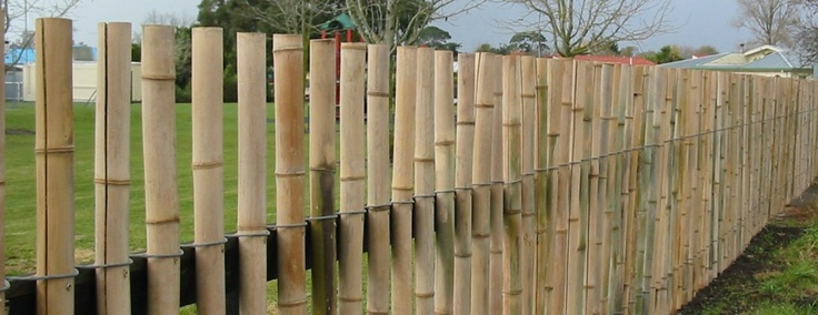 Bamboo Fencing Over Chain Link Fence Outdoor Garden