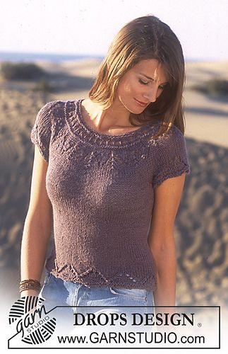 95-9 Short sleeved top in in Safran and Alpaca by DROPS design